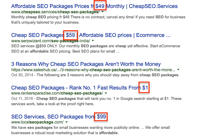 Cheap SEO Search Results