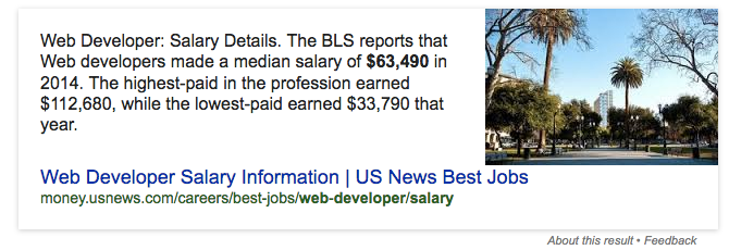 Salary of Web Developer