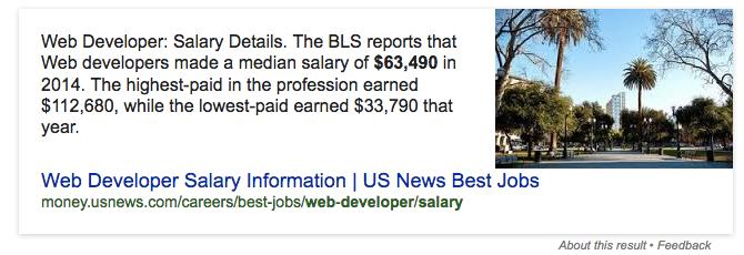 Salary of Web Developer