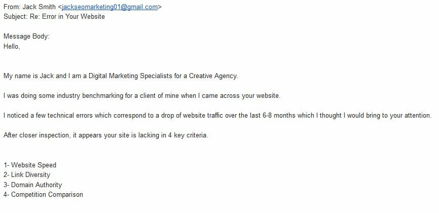 Email from SEO Consultant