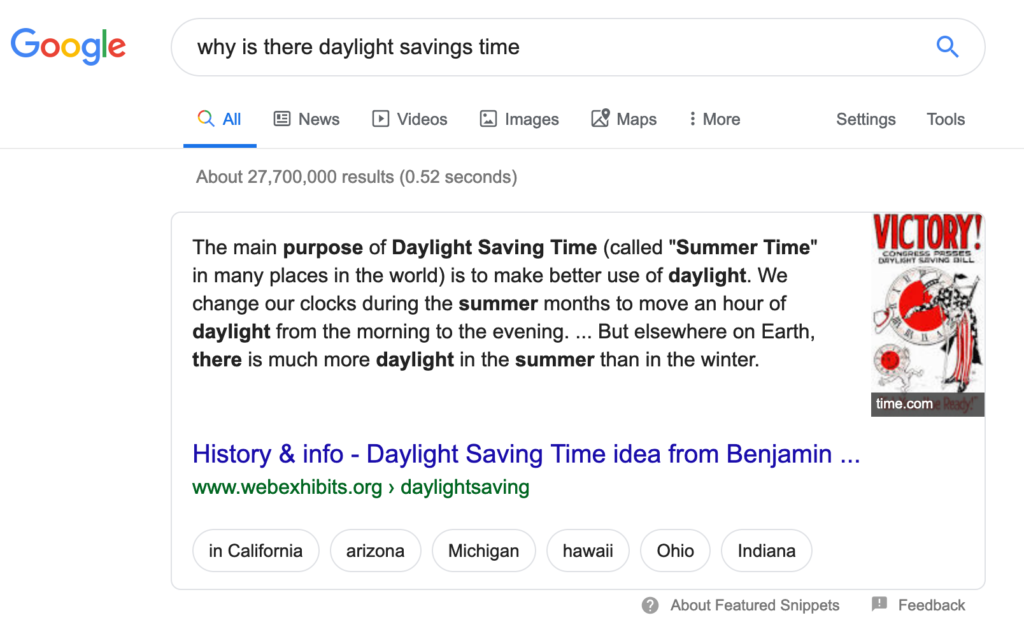 Featured Snippet Paragraph Example